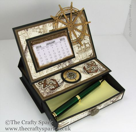 Single Drawer Desktop Calendar and Post It Note Holder Stampin Up UK The Open Sea