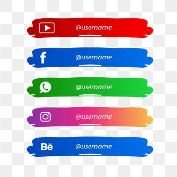 Social Media Lower Third With Paint Brush Social Media Brush Lower Third Png And Vector With Transparent Background For Free Download Lower Thirds Social Media Banner Template Design