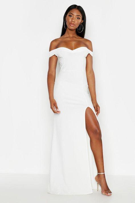 Bardot Thigh Split Fishtail Maxi Dress In 2019 Fishtail Maxi Dress Dresses White Maxi Dresses