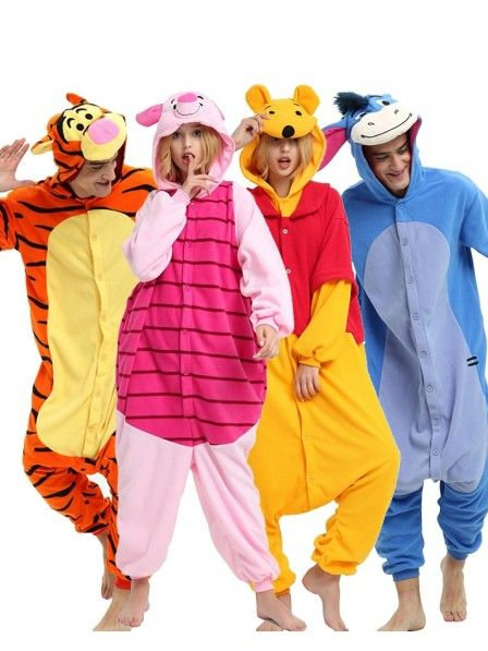 Winnie the pooh characters Unisex Onesiee Fancy Dress Costume Hoodies Pajamas