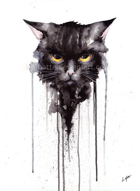 Epingle Par Vyctor Connor Sur Watercolor Peinture De Chat Noir