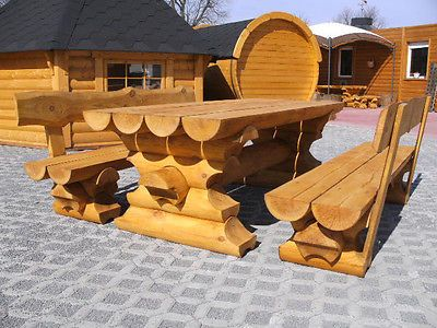 1m Rundbohlen Sitzgarnitur Tisch 2 Banke Biergarten Sitzgruppe Parkbank Holzbank Ebay Holzbank Garten Sitzgarnitur Holzbank