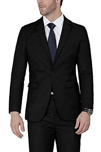 WEEN CHARM Men's Suits One Button Slim Fit 2-Piece Suit Blazer Jacket Pants Set - Black / Small