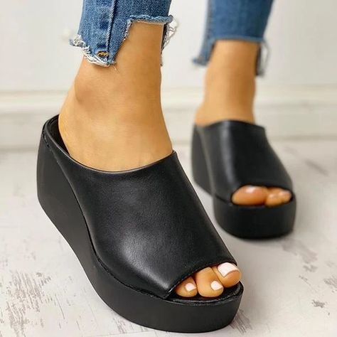 Descriptions: Style: Daily,Casual Item: Slippers Upper Material: PU Toe: Peep Toe Closure Type: Slip-On Heels: Wedge Heel Package included: 1 Pair of Sandals N Peep Toe Wedges, Wedge Heels, Leopard Espadrilles, Studded Loafers, Slipper Sandals, Cute Shoes, Rothys Shoes, Apl Shoes, Low Heel Shoes