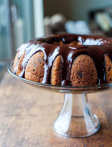 The Best Pumpkin Chocolate Chip Bundt Cake with Chocolate Ganache