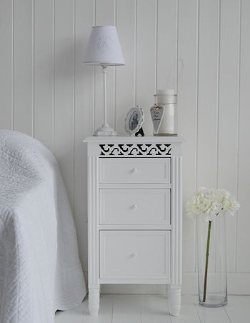 the white cottage bedside tables range of sizes and styles for your country cottage bedroom the westport bedside cabinet with 3 drawers pinterest