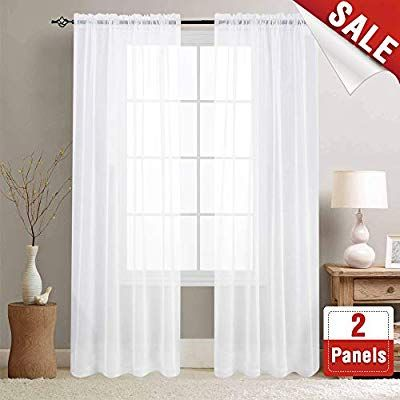White Sheer Curtains 95 Inches Long For Living Room Rod Pocket