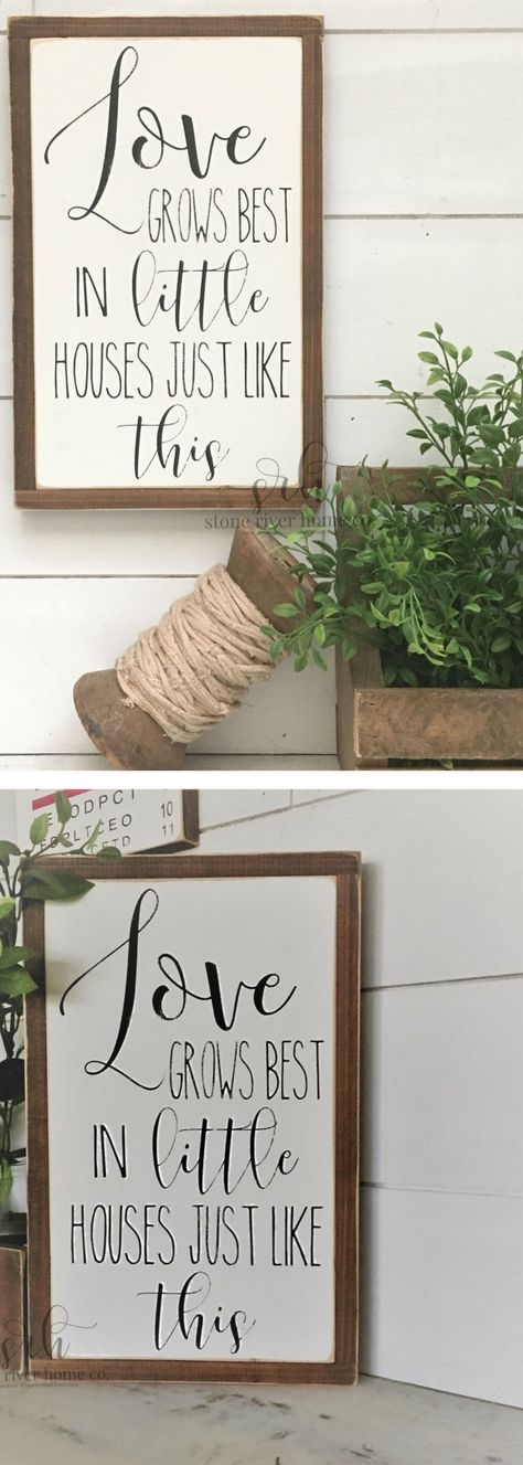 Love Grows Best In Little Houses Painted Wood Sign | Distressed Rustic  Antiqued Decor | Wall