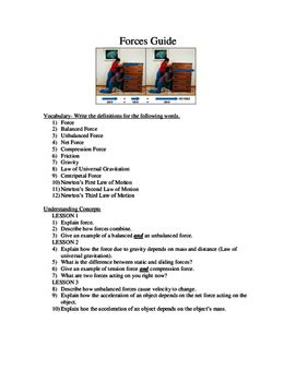 Forces Newton S 3 Laws Study Guide Worksheet With Images
