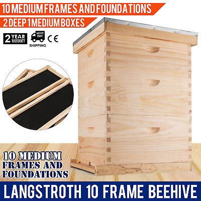 Langstroth Bee Hive 10 Frame 2 Deep 1 Medium Box Beehive Convenient Complete Kit Ebay Link 10 Frame Framed Bee Bee Boxes