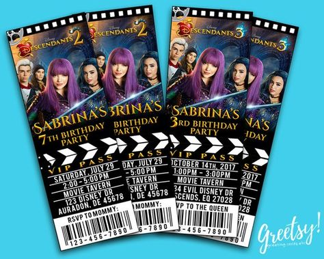 Descendants Invitation Birthday Party Movie Pass