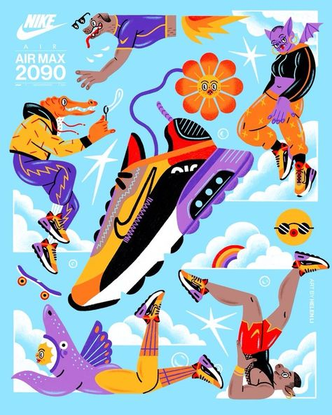 "Closer&Closer on Instagram: ""@helen.of.koi here! I had a total blast teaming up with @nike & @finishline to create art and animations for the AirMax 2090 (Habanero Red…"""