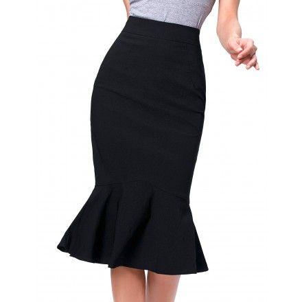 6d253d9d3 Elegante y femenina falda de tubo por debajo de las rodillas corte ...