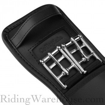 Ovation Leather Comfort Dressage Girth with Triple Elastic and Roller Buckles