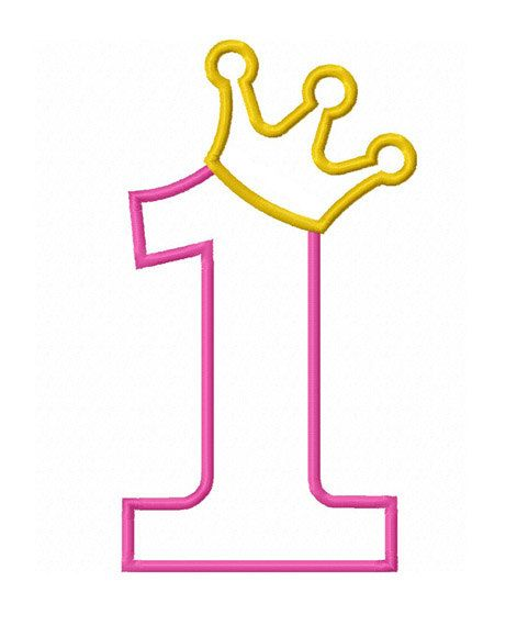 Instant Download Crown Number 1 Applique Machine Embroidery Design Birthday Crown Applique Princess First Birthday Applique Design No 1410 1st Birthday Girls Embroidery Designs Crown Template