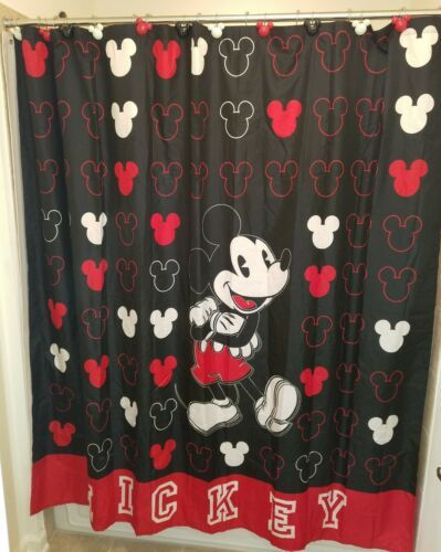 Disney Mickey Mouse Shower Curtain Plus 12 Mickey Ears Hooks Red White Black Ebay In 2020 Disney Shower Curtain Mickey Mouse Shower Curtain Mickey Ears