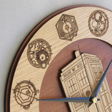 Handmade Doctor Who #Tardis wooden clock.  Original and unique gift. Worldwide Shipping. Available in:  www.geeksmarvels.etsy.com  .  #Allonsy #WishList #InteriorDesign #Blogger