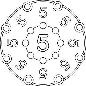Zahlen Mandala 5 Zahl Funf Funf Mandala Zahl Zahlen Zahl