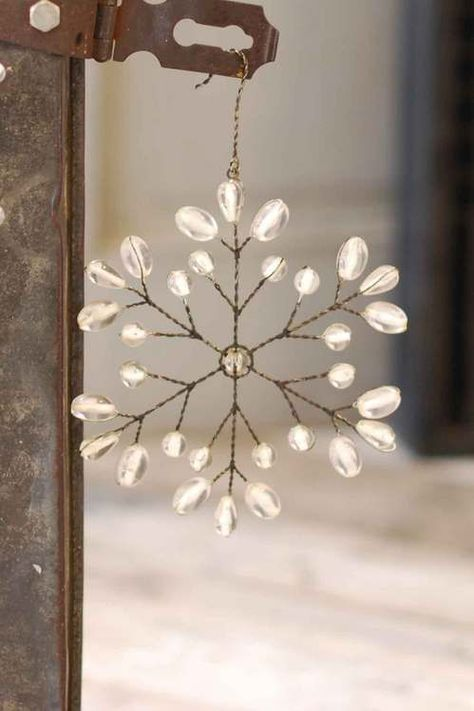 snowflakes to try for winter party! Wire Ornaments, Beaded Christmas Ornaments, Snowflake Ornaments, Christmas Snowflakes, Noel Christmas, All Things Christmas, Christmas Decorations, Beaded Snowflake, Simple Snowflake