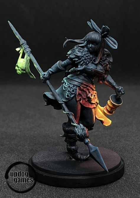 """My first time simulating object-source lighting (OSL) on a miniature. This Necromancer from Echoes of Death by was a great choice. Light, Dark, and Colors all at once."