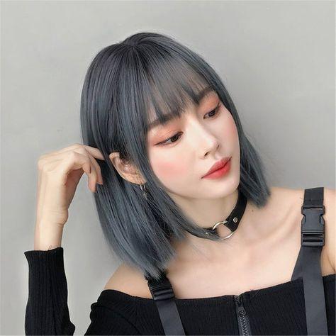 Wigs With Bangs, Hairstyles With Bangs, Asian Hairstyles, Straight Hairstyles, Dark Blue Hair, Blue Grey, Short Blue Hair, Mint Green Hair, Brown Hair