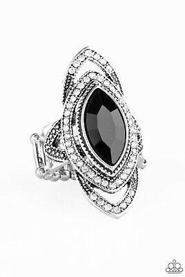 Paparazzi Hot Off The Empress Black Ring New Ebay Black Rings White Rhinestone Blue Rings
