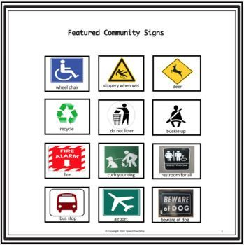 More Community And Safety Signs Special Education Special Education Education Speech Activities