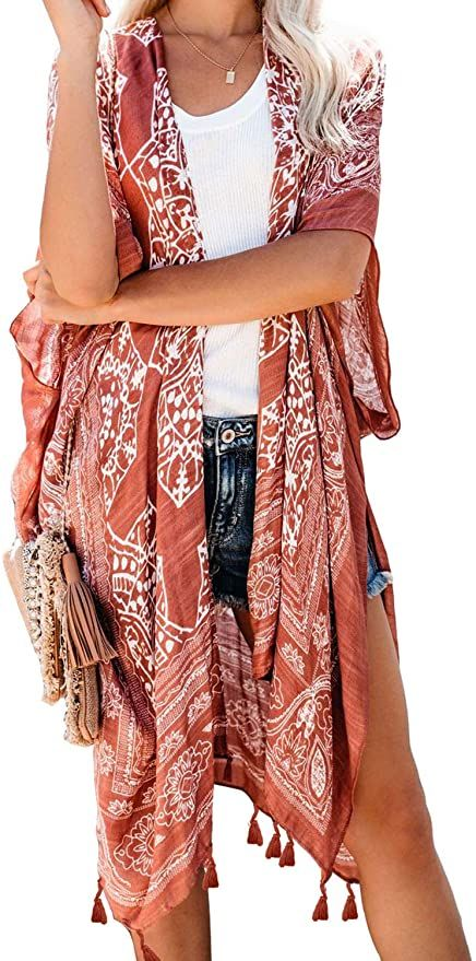 Fiyote Womens Long Bohemian Style Chiffon Printed Cover Up Sarong Tassel Coat One Size