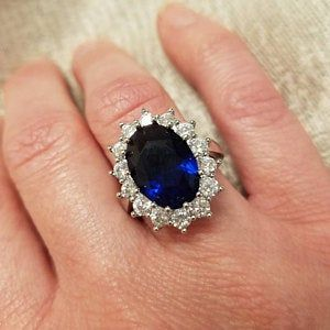 Royal Sapphire Ring Inspired By Princess Diana Comes With Etsy In 2020 Diana Ring Princess Diana Ring Princess Diana Jewelry