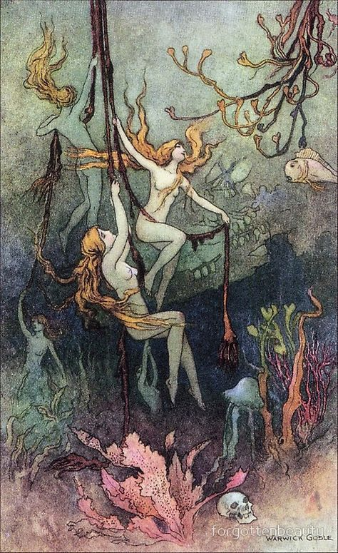 Fairy Mermaids by Warwick Goble Nude Art Postcard Alphonse Mucha, Art Bizarre, Les Fables, Mermaid Art, Vintage Mermaid, Fairytale Art, Fairy Art, Aesthetic Art, Warwick Goble