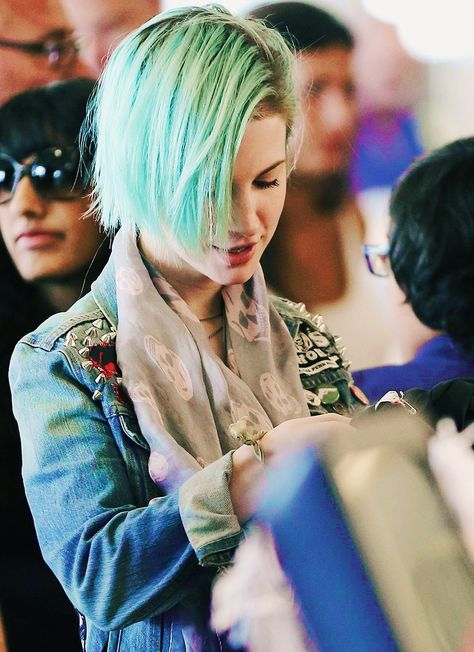 Hayley Williams. Scarf, vintage denim patched jacket with rolled sleeves, aqua bob,