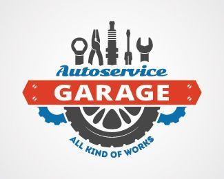 Autoservice Garage Logo Design Combination Of Automobile Tools Gears And Tyre This Logo Will Suit For Auto Garage Logo Car Logo Design Mechanic Logo Design
