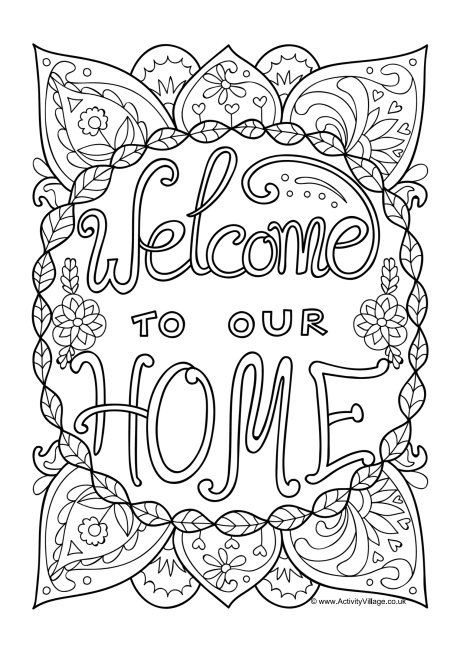 Welcome To Our Home Colouring Page With Images Coloring Pages