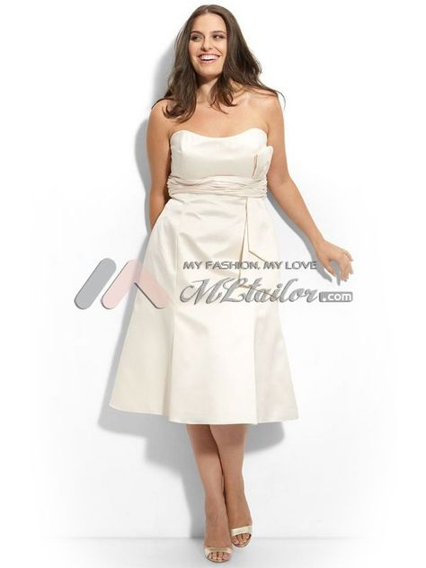 A-line Strapless Tea Length Satin Plus Size Cocktail Dress (MLSW19266)