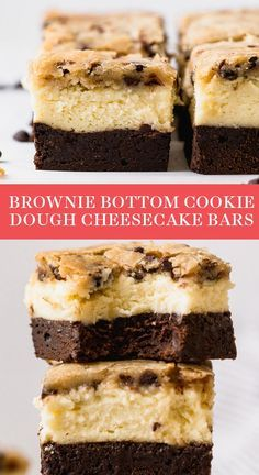 Holy over the top dessert recipe! Brownie Bottom Cookie Dough Cheesecake Bars have a layer of fudgy chewy brownie homemade cheesecake filling and an easy hocolate chip cookie dough topping! #brownie #cookiedough #cheesecakebar #dessertrecipe