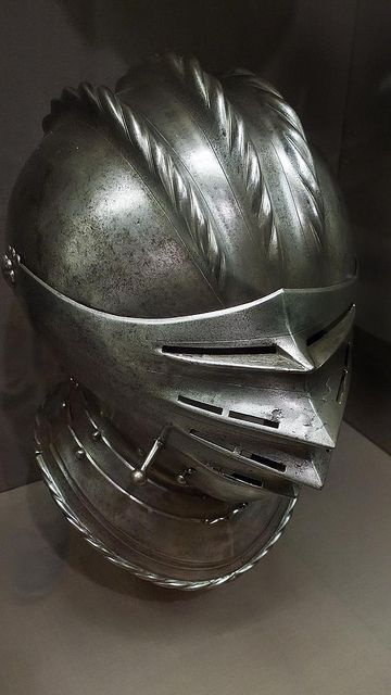Close Helmet made in Nuremberg Germany Engraved Steel and Brass. 1535-1540 AD.