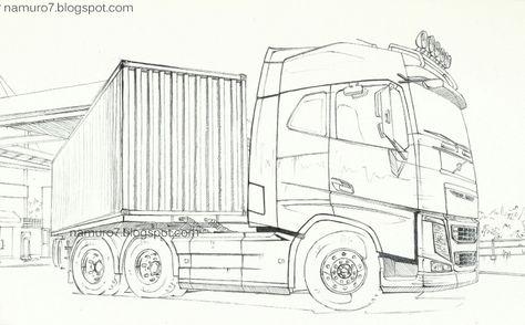 volvo vrachtwagen kleurplaat kleurplatenl