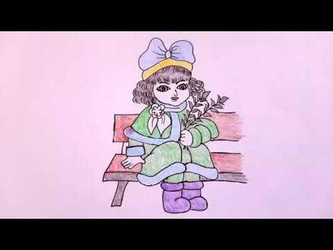 رسم سهل تعليم رسم بنت بقلم الرصاص خطوة بخطوة رسم بنات سهل مع التلوين رسومات سهلة Youtube Vault Boy Art Character
