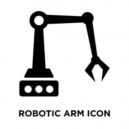 Robotic Arm Icon Vector Isolated White Background Logo Concept Robotic Sponsored Icon Vector Robotic Arm Ad Logo Concept Robot Arm Robot
