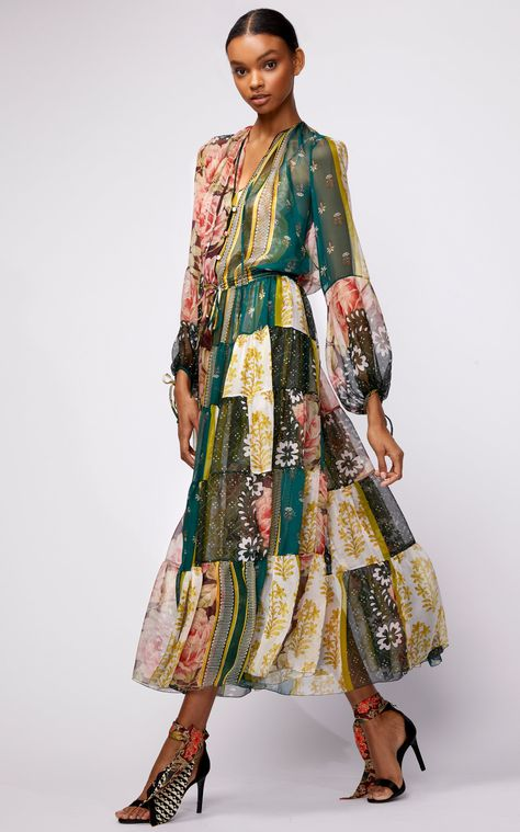 Oscar de la Renta Patchwork-Effect Floral-Print Silk-Chiffon Dress