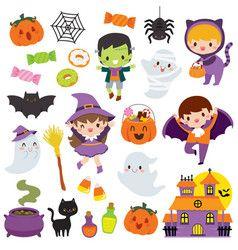 Kawaii Cute Halloween Clipart Set Halloween Clipart Kawaii Halloween Halloween Vector