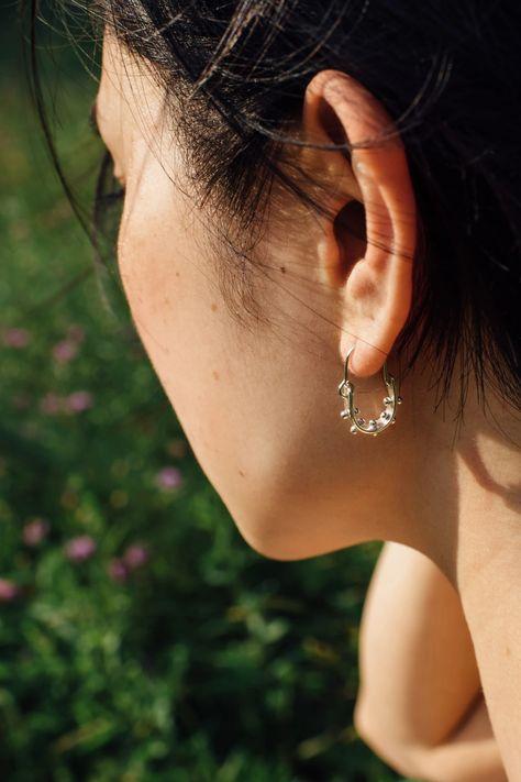 SS RHOD DC HOOP EARRING Hoop Earrings