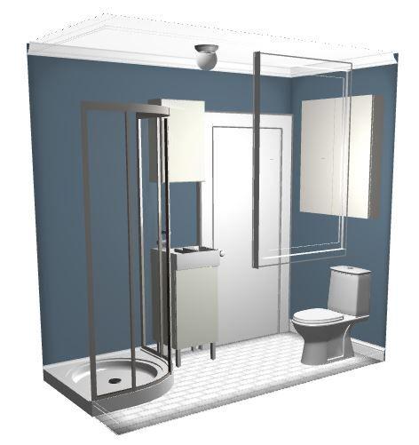 A 4 By 8 Full Bathroom Floor Plan 3d Bathrooms