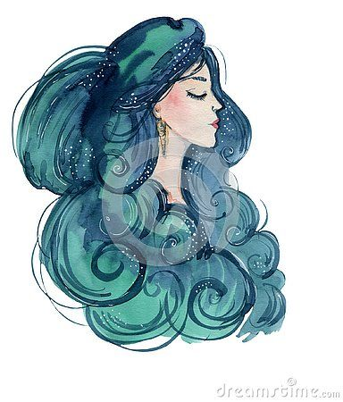 Watercolour Illustration Of A Beautiful Profile Of A Sea Girl With