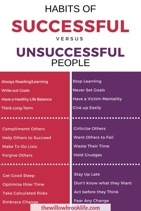 Habit's of Unsuccessful People VS. Successful People – The Willow Brook Life