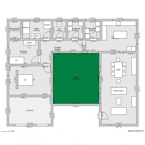 maison avec patio central Idées pour la maison Pinterest - plan maison plain pied 200m2