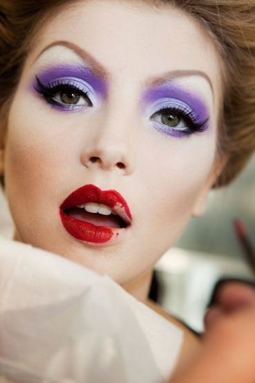 Bright Purple Eye and Red Lip