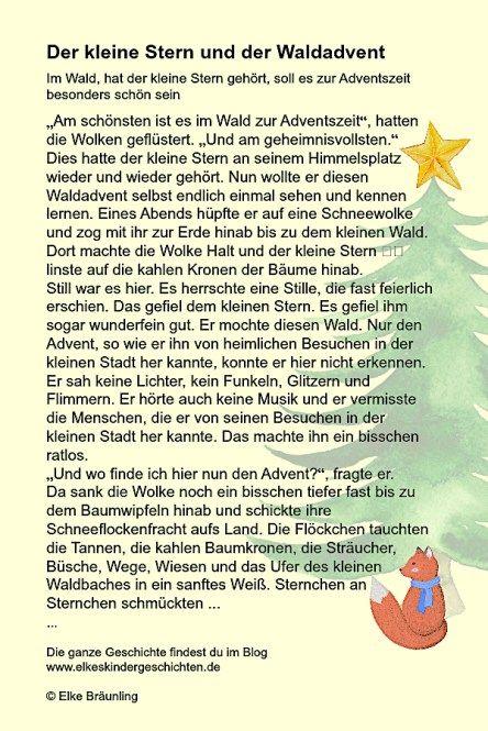 Der Kleine Stern Und Der Waldadvent Adventsgeschichten Fur Kinder Weihnachten Geschichte Weihnachtsgeschichte Kinder