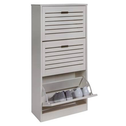 Buy Home Harvard 3 Box Shoe Bench White Hallway Storage