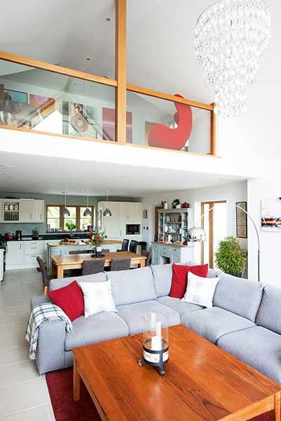 Traditional Style Self Build Home Living Room With Mezzanine Floor Traditional Style Living Room Home Living Room Loft Style Homes
